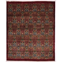 Ranha Ikat Red Wool Hand-knotted Area Rug - 8'1 x 9'9