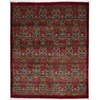 Ranha Ikat Red Wool Hand-knotted Area Rug (8'1 x 9'9)