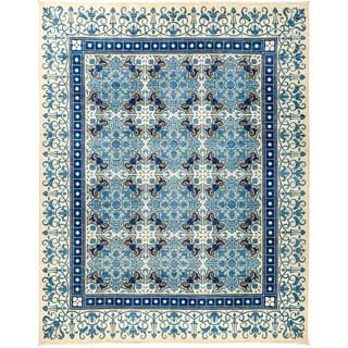 """Barerout Hand-knotted Blue Wool Area Rug (8'1 x 10'2) - 8'1"""" x 10'2"""""""