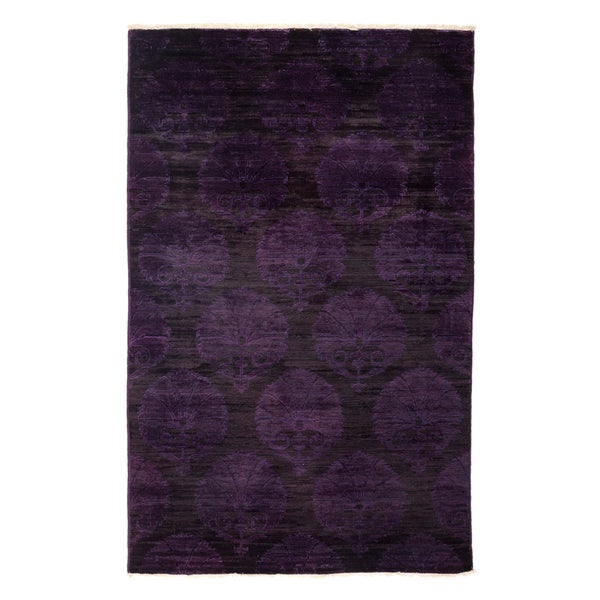 Overdyed Dumadan Hand Knotted Area Rug - 4' X 6'2""