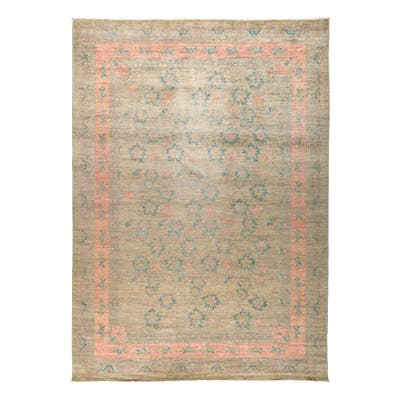 """Patterned & Floral, One-of-a-Kind Hand-Knotted Area Rug - Brown, 10' 1"""" x 13' 10"""" - 10'1"""" x 13'10""""/Surplus"""