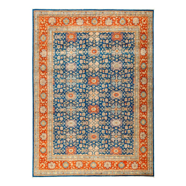 Agasta Hand Knotted Blue Wool Area Rug 9 X27