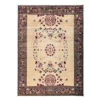 Diwadiyah Beige Wool Hand-knotted Oriental Area Rug - 9'3 x 11'10