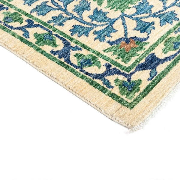 Hatgat Green Wool Hand Knotted Area Rug