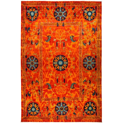 Amalyub Hand-knotted Orange Wool Area Rug - 10' x 14'9