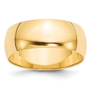 14 Karat Yellow Gold 8mm Lightweight Half Round Band