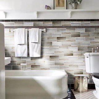 Wood Plank Shades Peel And Stick 6 In. X 3 In. Glass Wall Tile