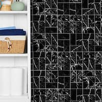 Peel and Stick Black Marble Shades 6 in. x 3 in. Glass Wall Tile (48-Pack)