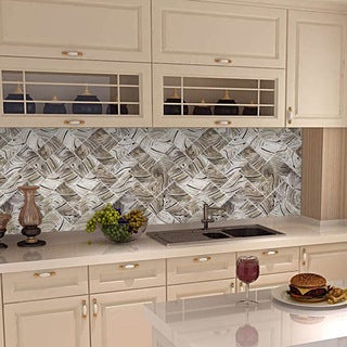 Peel And Stick Wooden Swirl Shades 6 In. X 3 In. Glass Wall Tile