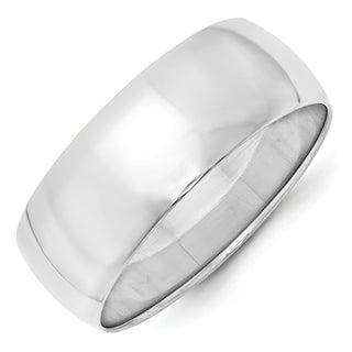 Link to 10K White Gold 8mm Polished Lightweight Half Round Band by Versil Similar Items in Rings