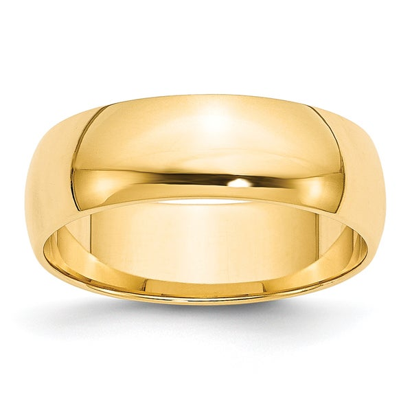 14K Yellow Gold 6mm Polished Lightweight Half Round Band by Versil. Opens flyout.