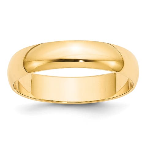 14K Yellow Gold 5mm Polished Lightweight Half Round Band by Versil