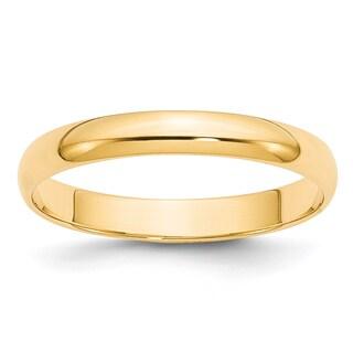 14 Karat Yellow Gold 3mm Lightweight Half Round Band