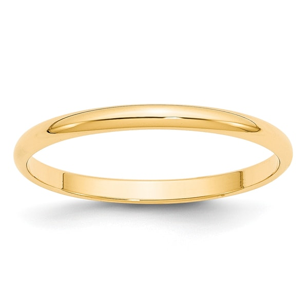 14K Yellow Gold 2mm Polished Lightweight Half Round Band by Versil. Opens flyout.