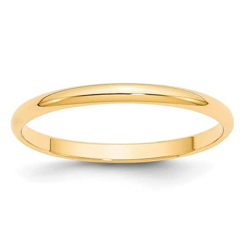 14K Yellow Gold 2mm Polished Lightweight Half Round Band by Versil
