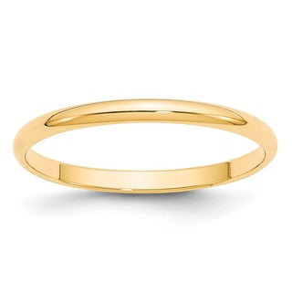 14 Karat Yellow Gold 2mm Lightweight Half Round Band