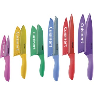 Cuisinart Classic 12-Piece Metallic Coated Color Soft Grip Knife Set with Blade Guards, Multicolor