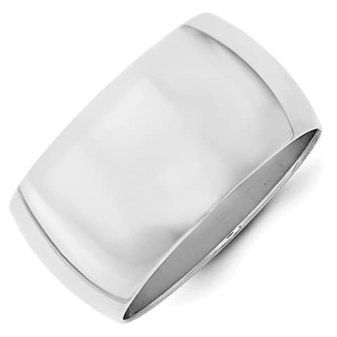 10K White Gold Polished 12mm Half Round Standard Fit Band by Versil