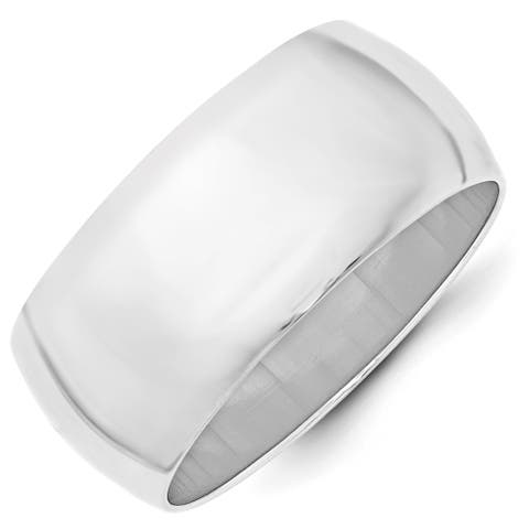 10K White Gold Polished 10mm Standard Fit Half Round Wedding Band by Versil