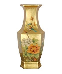 Handmade Gold Hexagonal Porcelain Vase (China)