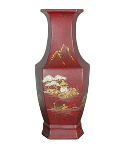 Red Hexagonal Porcelain Vase (China)