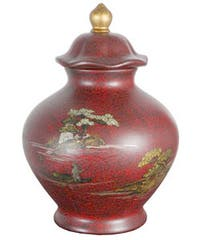 Handmade Red Temple Porcelain Jar (China)
