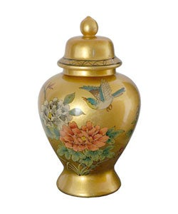 Handmade Gold Temple Porcelain Jar (China)