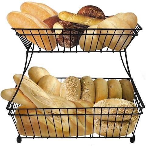 Sorbus 2-Tier Flat-Back Metal Bread Basket