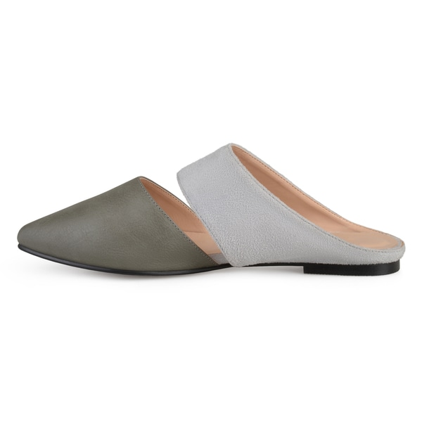 Journee Collection Womens Faux Leather Slip-on Faux Suede Mules