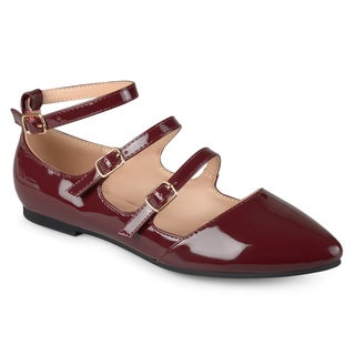 Journee Collection Women's 'Essie' Faux Patent Strappy Buckle Flats