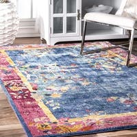 nuLOOM Transitional Blooming Floral Chinese Art Deco Border Blue Rug - 5' x 8'