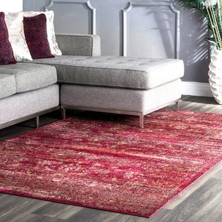 nuLOOM Traditional Vintage Faded Herati Solid Border Burgundy Rug (7'10 x 9'6)