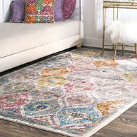nuLOOM Transitional Faded Floral Ogee Trellis Multi Rug (4' x 6') - 4' x 6'