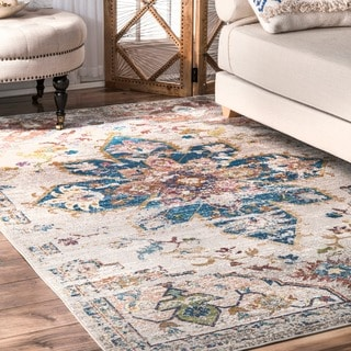 nuLOOM Transitional Vibrant Snowflake Medallion Floral Ivory Rug (4' x 6')