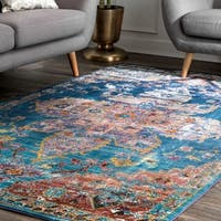 "nuLOOM Transitional Vibrant Snowflake Medallion Floral Blue Rug (7'10 x 9'6) - 7'10"" x 9'6"""