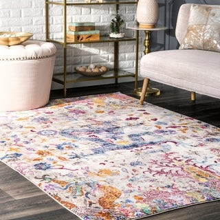 nuLOOM Traditional Oriental Inspired Dragon Floral Ivory Rug (4' x 6')