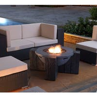 Dominique Grey Stainless Steel and Glass Propane Fire Pit