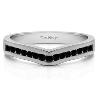 10k Gold Classic Contour Wedding Ring Mounted With Black Diamonds 0 33 Cts Twt