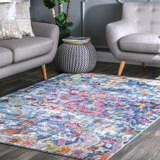 nuLOOM Traditional Oriental Inspired Dragon Floral Blue Rug (4' x 6')