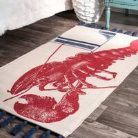 nuLOOM Handmade by Thomas Paul Cotton Printed Red Lobster Tassel Rug (4' x 6')