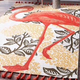 nuLOOM Handmade by Thomas Paul Cotton Printed Flamingo Tassel Rug (5' x 8')