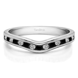 14k Gold Traditional Style Curved Wedding Tracer Ring Mounted With Black And White Diamonds G H I2 I3 0 42 Cts Twt