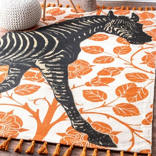 nuLOOM Handmade by Thomas Paul Cotton Printed Zebra Tassel Rug (5' x 8')