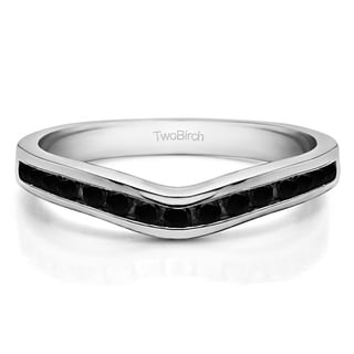 Sterling Silver Traditional Style Curved Wedding Tracer Ring Mounted With Black Cubic Zirconia 0 42 Cts Twt