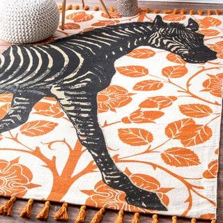nuLOOM Handmade by Thomas Paul Cotton Printed Zebra Tassel Rug (3' x 5')