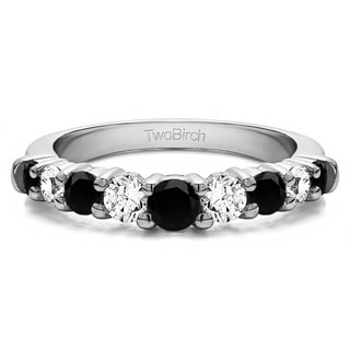 14k Gold Delicate Classic Curved Shadow Band Mounted With Black And White Diamonds G H I1 I2 0 25 Cts Twt