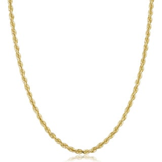 Fremada 10k Yellow Gold Solid Rope Chain Men's Necklace (4-mm)