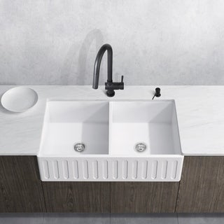 Attractive VIGO 36 Inch Matte Stone Double Bowl Farmhouse Sink Set With Gramercy  Stainless Steel