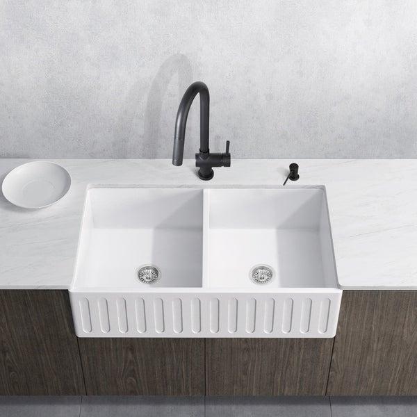 VIGO Matte Stone Double-bowl Farmhouse Sink Set with Gramercy Faucet