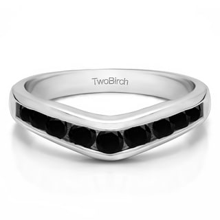10k Gold Chevron Inspired Classic Contour Wedding Band Mounted With Black Cubic Zirconia 0 42 Cts Twt